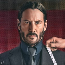 John Wick by Nick Holdsworth - Mixed Media on Board sized 23x23 inches. Available from Whitewall Galleries